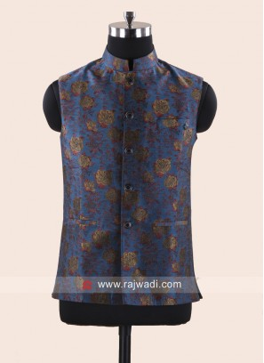 Party Wear Peacock Blue Designer Koti