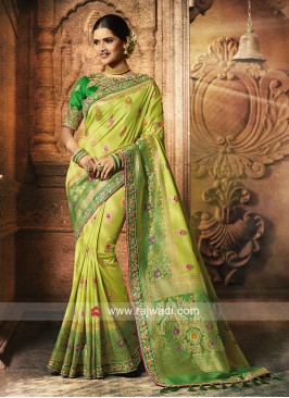 Party Wear Pista Green Saree