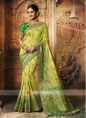 Party Wear Pista Green Saree