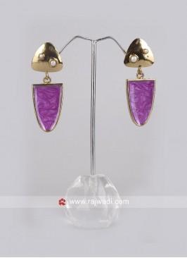 Party Wear Purple Dangler Earrings