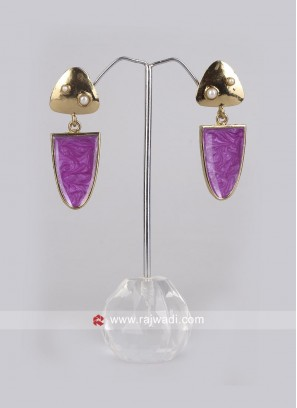 Party Wear Purple Dangler Earrings