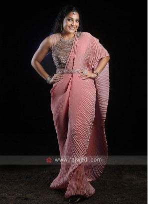 Party Wear Ready Pleated Saree