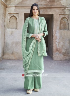 Party Wear Salwar Suit in Sea Green