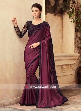 Party Wear Saree with Contrast Border