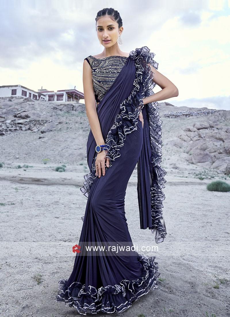 Party wear Sari with Ruffle Border