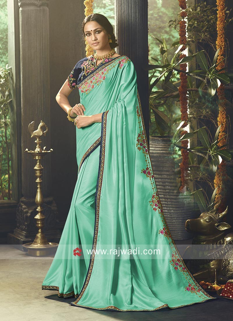 1aedfec5cd7bf Party Wear Satin Silk Saree. Tap to expand