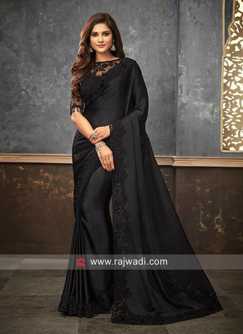 Party Wear Satin Silk Sari in Black