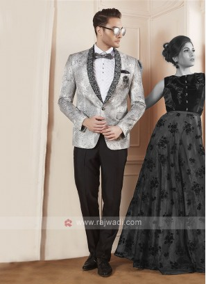 Party wear silver grey color suit