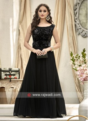 Party Wear Tikki Work Gown in Black