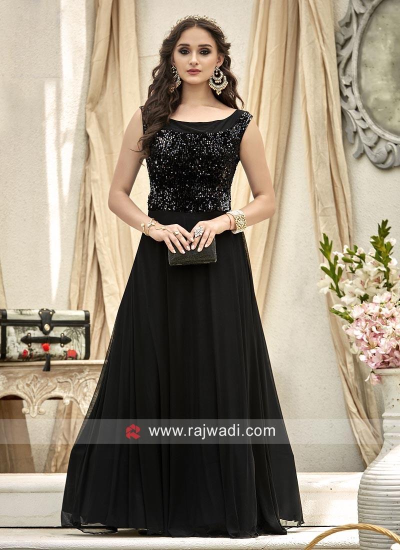 Party Wear Tikki Work Gown in Black