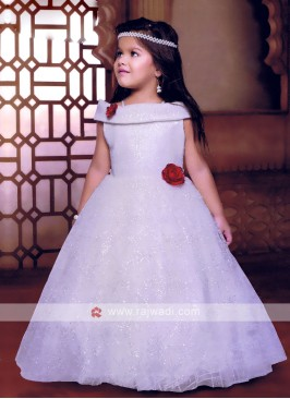 Party Wear White Gown For Girls
