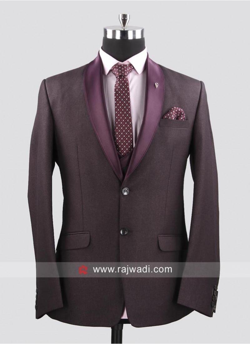 Party Wear Wine Color Suit