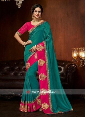 Party Wear Zari Work Saree with Blouse