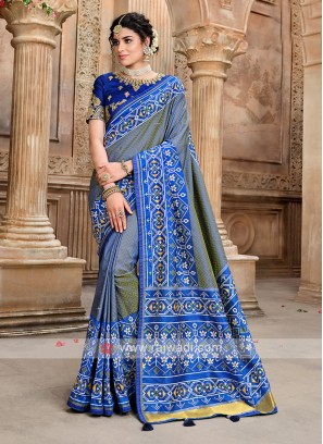 Blue Designer Saree In Patola Saree