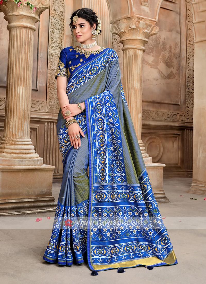 Blue Designer Saree In Patola Saree