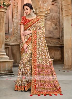 Patola Style Cream Color Saree