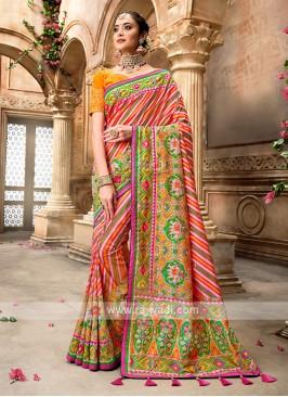 Pink & Green Patola Style Saree