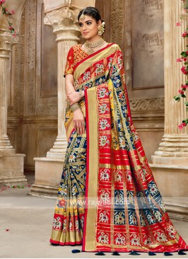Navy Blue Saree In Patola Style