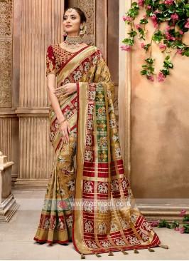 Goldenrod Designer Saree In Patola Style