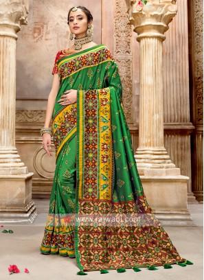 Patola Style Green Designer Saree