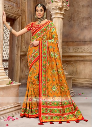 Patola Style Orange Designer Saree
