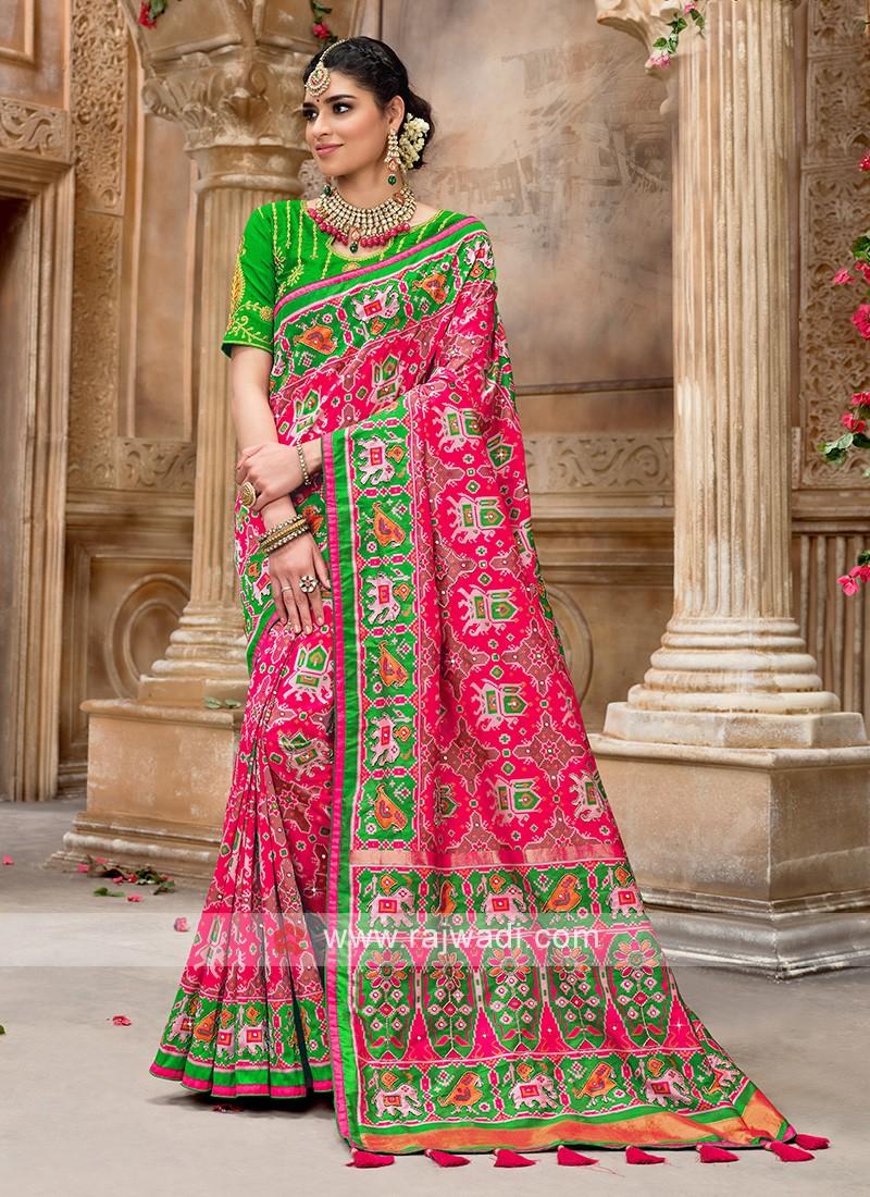 Patola Style Pink Designer Saree