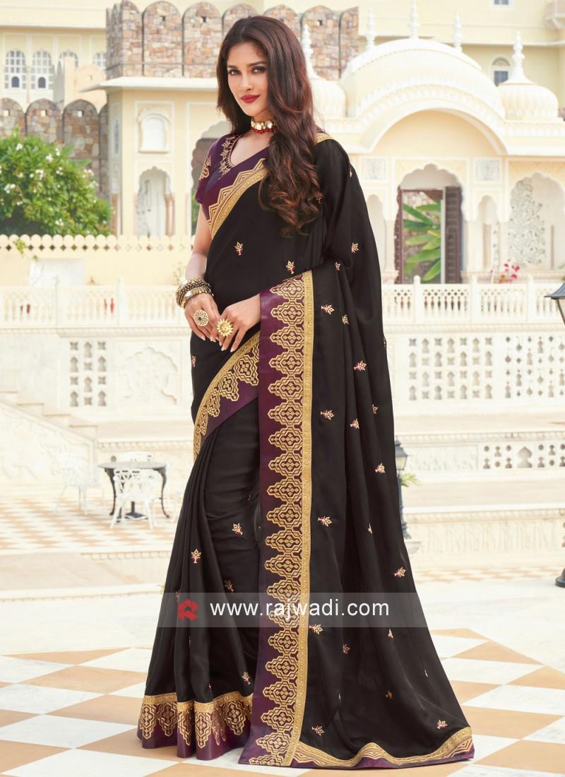 Patch Border Silk Designer Saree in Black