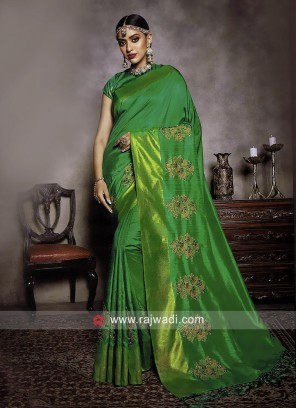 Patch Border Work Saree in Green