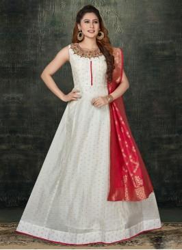 Cotton Silk Anarkali Suit In White Color
