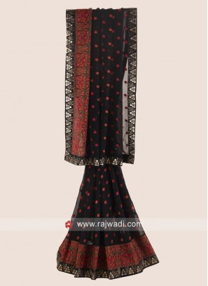 Patch Work Chiffon Saree in Black