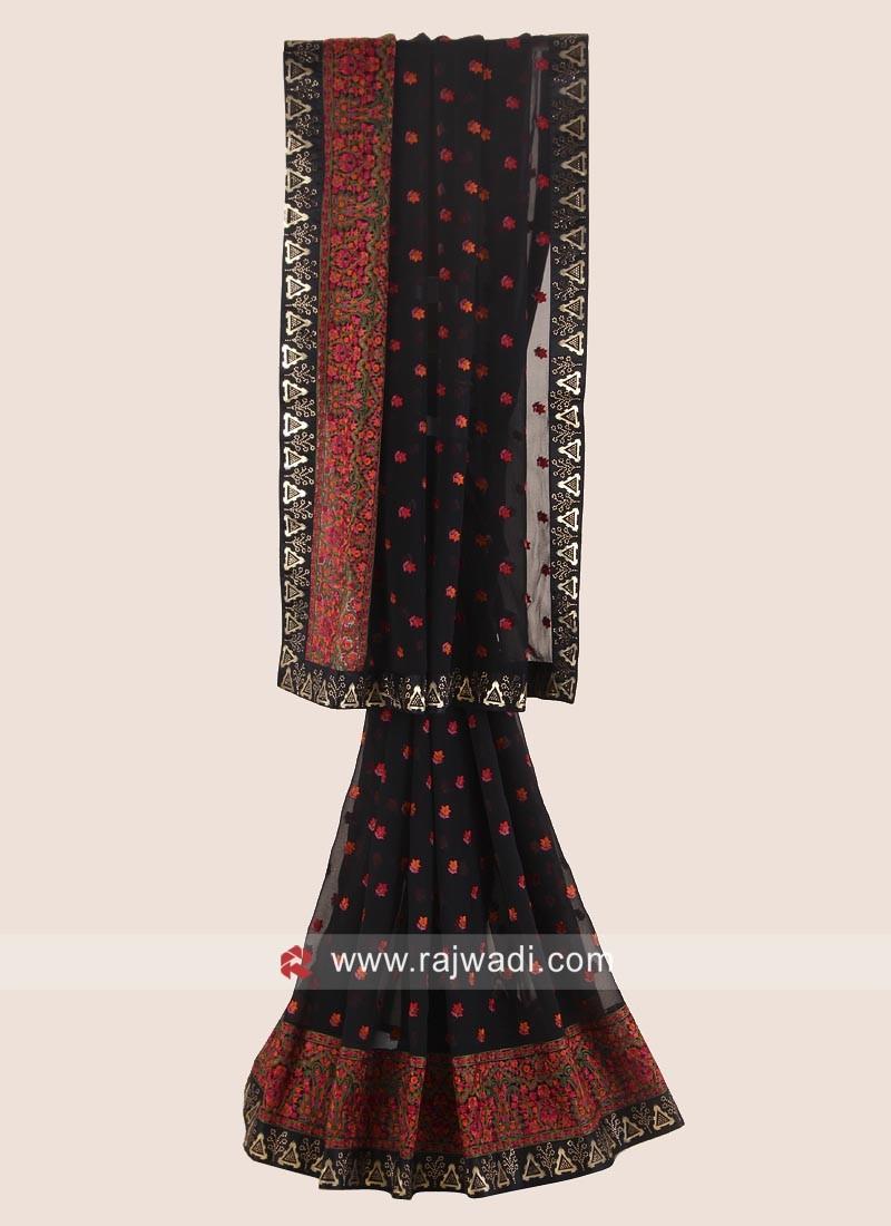 Patch Work Chiffon Saree in Black