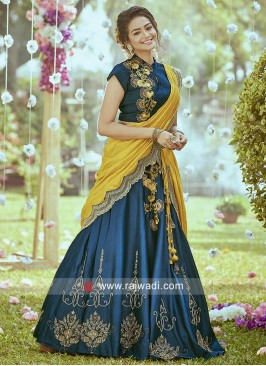 Patch Work Silk Lehenga Set in Peacock Blue
