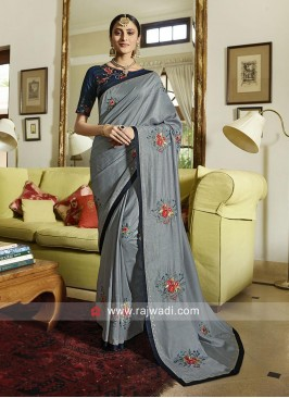 Patch Work Wedding Saree in Grey