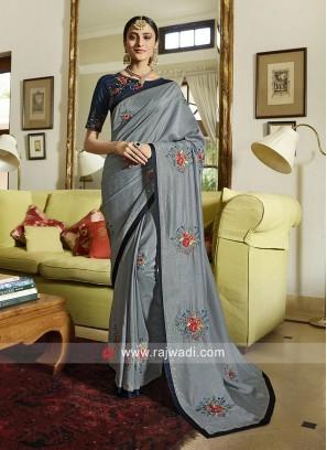 Patch Work Wedding Saree in Grey
