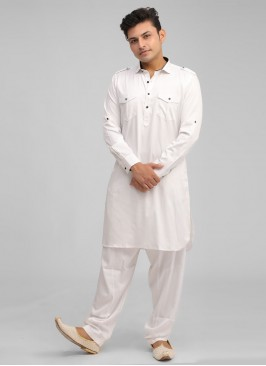 Pathani Suit For Men In White Color