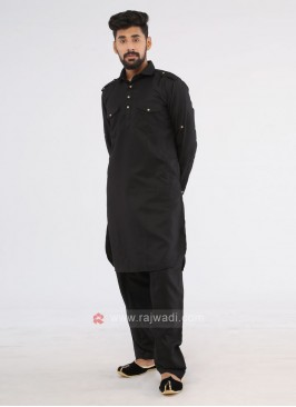 Pathani Suit In Black Color