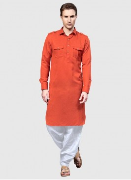 Pathani Suit in Rust Color