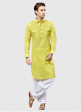 Pathani Suit in Yellow