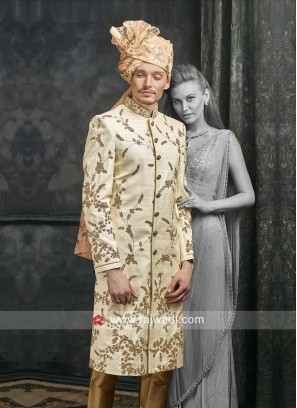 Stylish Cream Sherwani For Mens