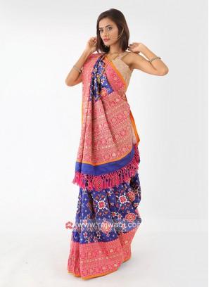 Patola Work Silk Saree In Blue