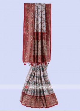 Patola Print Cream And Maroon Saree