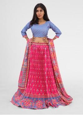 Patola Printed Pleated Style Choli Suit