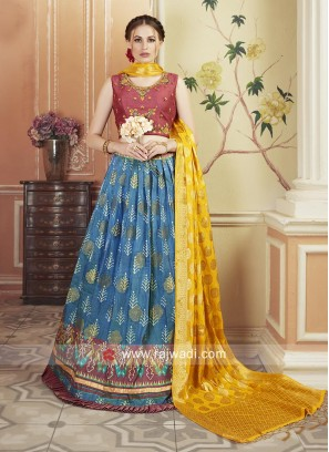 Patola Silk and Matka Silk Embroidered Lehenga Set