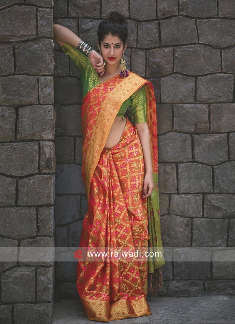 fc05c5c1d4d68c Patola Silk Saree with Blouse. Hover to zoom