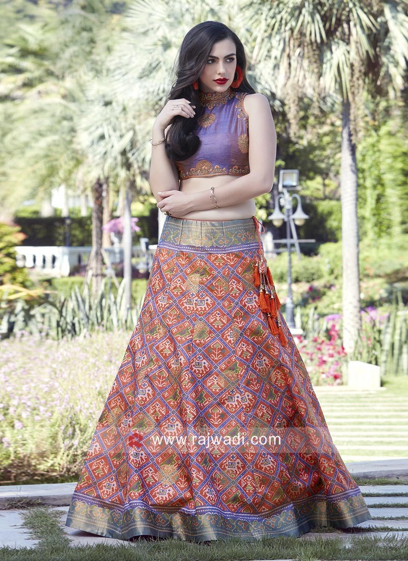 Patola Silk Traditional Lehenga and Crop Top