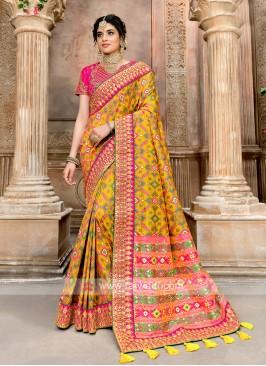 Patola Style Yellow Designer Saree