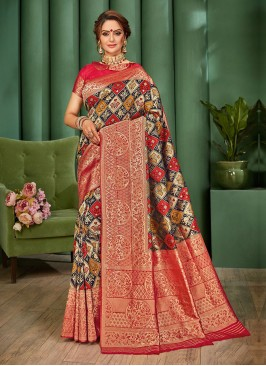 Patola Work Banarasi Silk Saree In Navy Blue And Red