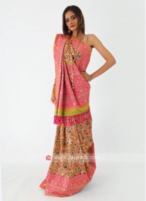 Patola Work Mehndi Green Silk Saree