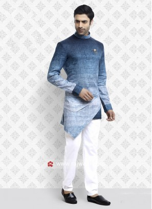 Peaceful Blue and White Shaded Pathani Suit