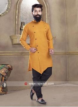 Peaceful Mustard Yellow Pathani Suit
